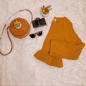 NWT Francesca's Mustard Yellow Sweater SZ M